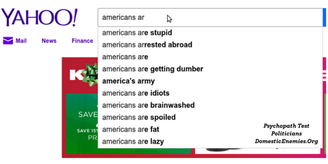 Americans are stupid - real Yahoo result suggestions